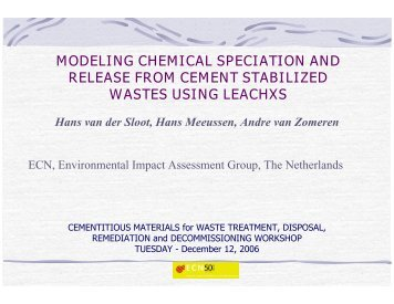 modeling chemical speciation and release from cement stabilized ...