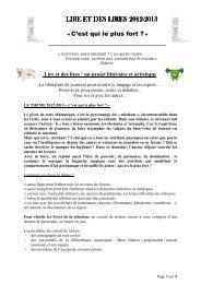 CHARTE LIRE ET DES LIRES 2012 2013