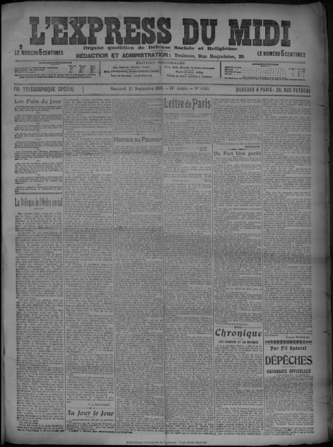 22 Septembre 1909 Bibliothèque De Toulouse