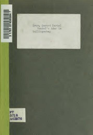 Vondel's Adam in ballingschap, vertoond door de N.V. Het Tooneel ...