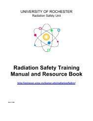 Radiation Safety Training Manual - Extranet - University of Rochester