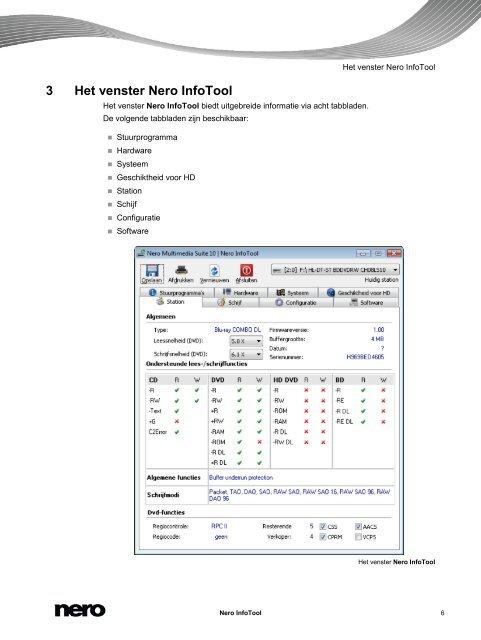 Handleiding Nero InfoTool - ftp.nero.com