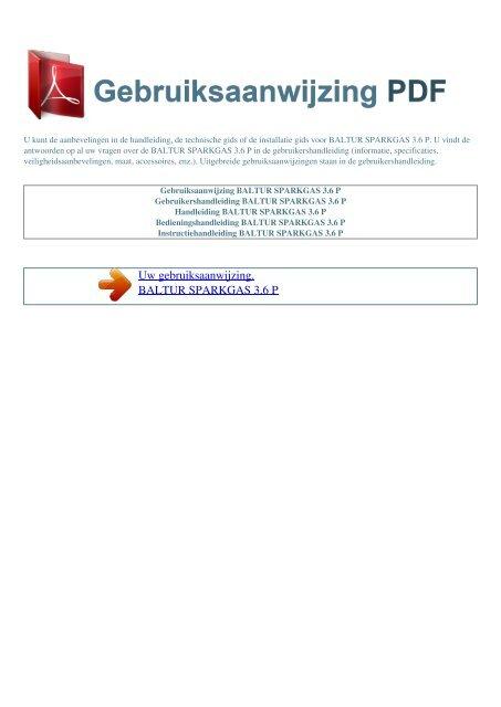 sparkgas 3.6 p - GEBRUIKSAANWIJZING PDF