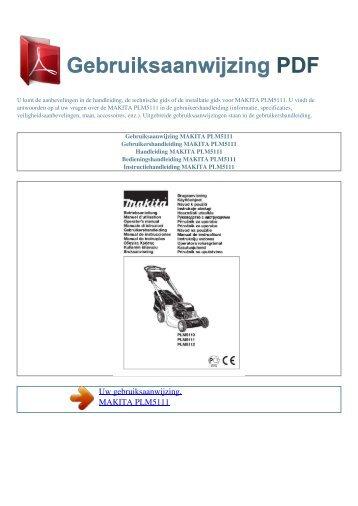 Gebruiksaanwijzing MAKITA PLM5111 - GEBRUIKSAANWIJZING PDF