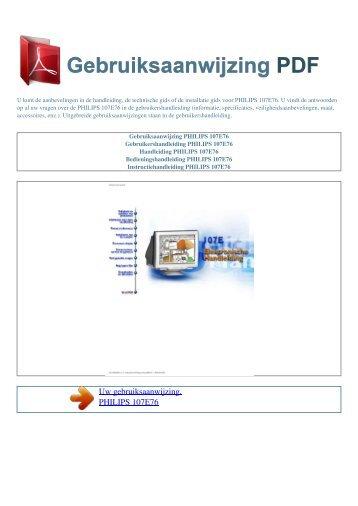 Gebruiksaanwijzing PHILIPS 107E76 - GEBRUIKSAANWIJZING PDF