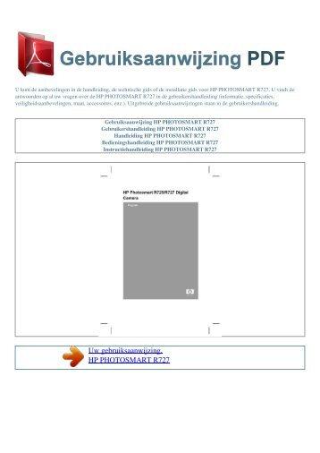 photosmart r727 - GEBRUIKSAANWIJZING PDF