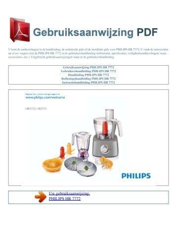 Gebruiksaanwijzing PHILIPS HR 7772 - GEBRUIKSAANWIJZING PDF