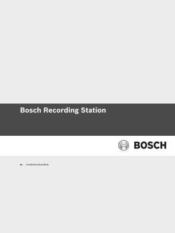 Bosch Recording Station - Bosch Security Systems