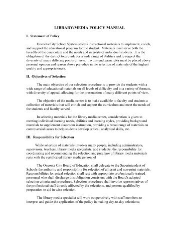 school library policies and procedures manual