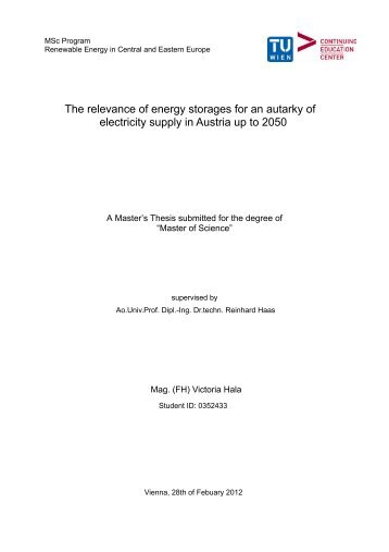 The relevance of energy storages for an autarky of electricity supply ...