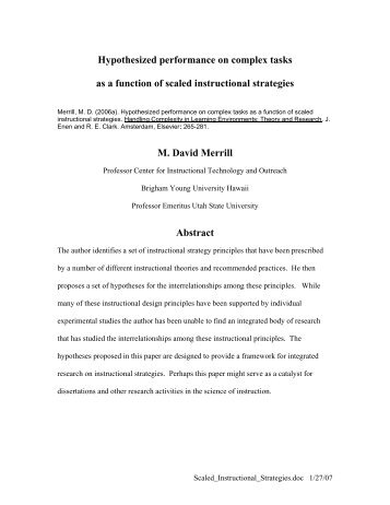 The Proper Study Of Instructional Design M David Merril