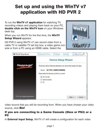 Set Up And Using The WinTV V7 Application With HD PVR 2