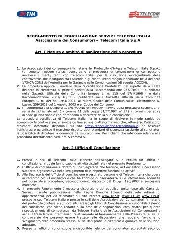 REGOLAMENTO DI CONCILIAZIONE SERVIZI TELECOM ITALIA ...