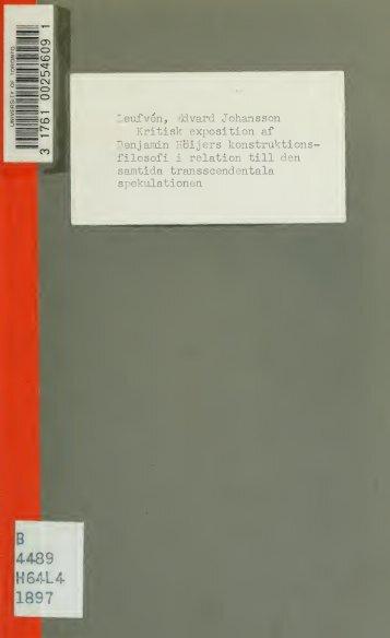 Kritisk exposition af Benjamin Höijers konstruktionsfilosofi i relation ...