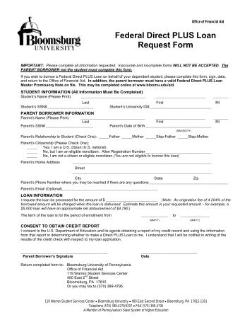 Parent Plus Loan Request Form 2013-14 - Goucher College