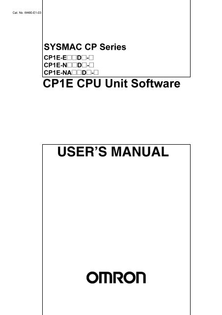 Cp1e Cpu Unit Software User S Manual
