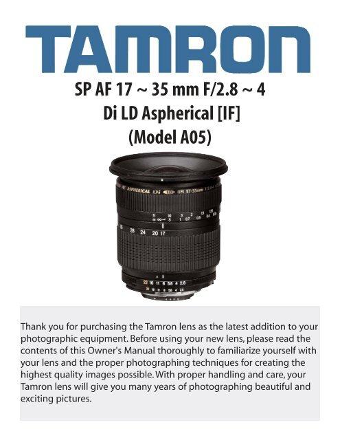 SP AF 17 ~ 35 mm F/2.8 ~ 4 Di LD Aspherical [IF] (Model ... - Tamron