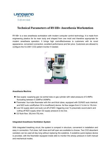 Technical Parameters of RY-IIB+ Anesthesia ... - medicomercio