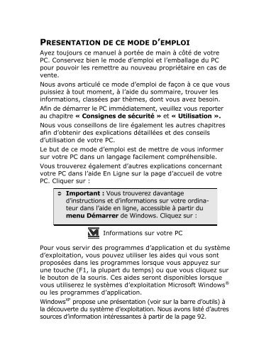 PRESENTATION DE CE MODE D'EMPLOI - medion