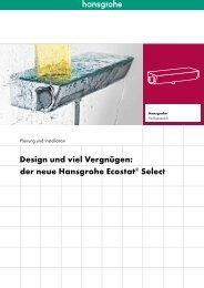 Design und viel Vergnügen: der neue Hansgrohe Ecostat® Select