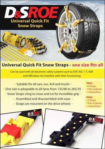 Universal Quick Fit Snow Straps - one size fits all - D&S ROE LTD