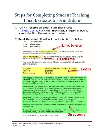Steps for Completing Student Teaching Final Evaluation Form Online