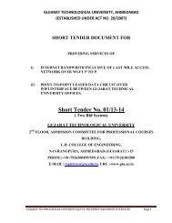 Short Tender No. 01/13-14 - Gujarat Technological University