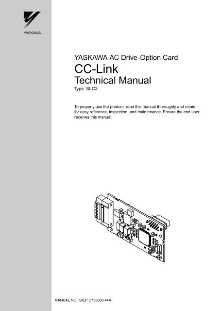 YASKAWA AC Drive Option Card CC Link Techincal Manual