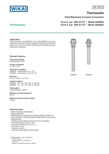 Tw socket weld thermowell solid machined wika