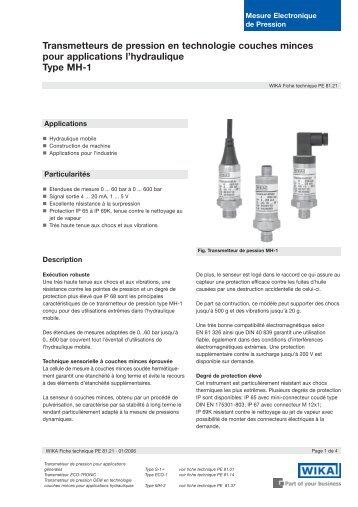 Transmetteurs de pression en technologie couches minces pour ...