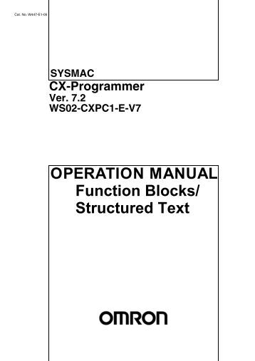 SYSMAC WS02-PSTC1-E CX-Protocol Ver. 1.71 Operation Manual