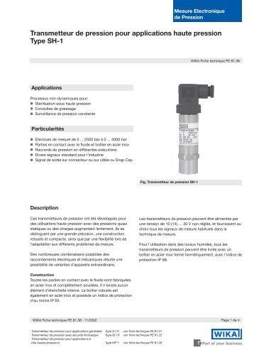 Transmetteur de pression pour applications haute pression Type SH-1