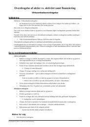 Overdragelse af aktier vs. aktivitet samt finansiering - JuraWiki