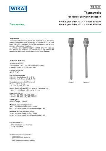 Strength calculation for thermowells wika polska