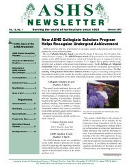 ashs newsletter - American Society for Horticultural Science