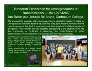2009 Program highlights report to NSF (PDF) - Dartmouth College
