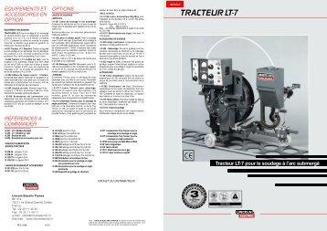 Tracteur LT-7 pour le soudage à l'arc submergé ... - Lincoln Electric