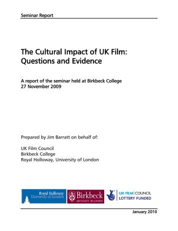 The Cultural Impact of UK Film: Questions and Evidence