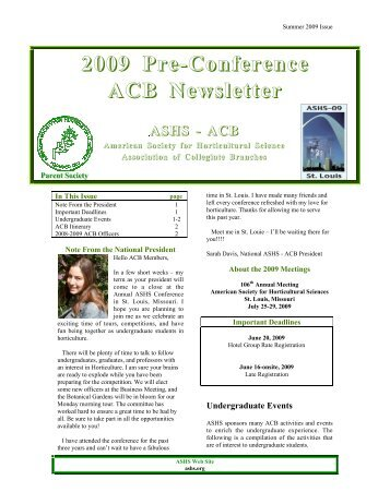 Summer 2009 - American Society for Horticultural Science