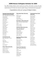 ASHS Honors Collegiate Scholars for 2005
