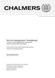 Service management i hemtjänsten - Chalmers tekniska högskola