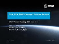 ESA SSA Space Weather Segment Update and Planning
