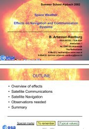 Effects on Satellite Communications and Navigation - ESA Space ...