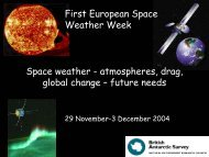 Future needs - ESA Space Weather Web Server