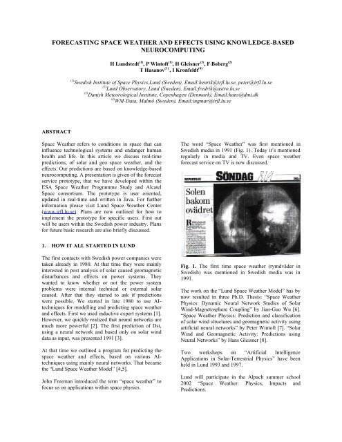 forecasting space weather and effects using knowledge-based ...