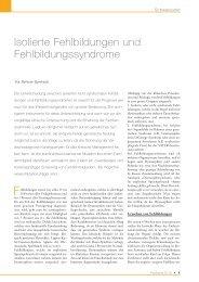 Isolierte Fehlbildungen und Fehlbildungssyndrome