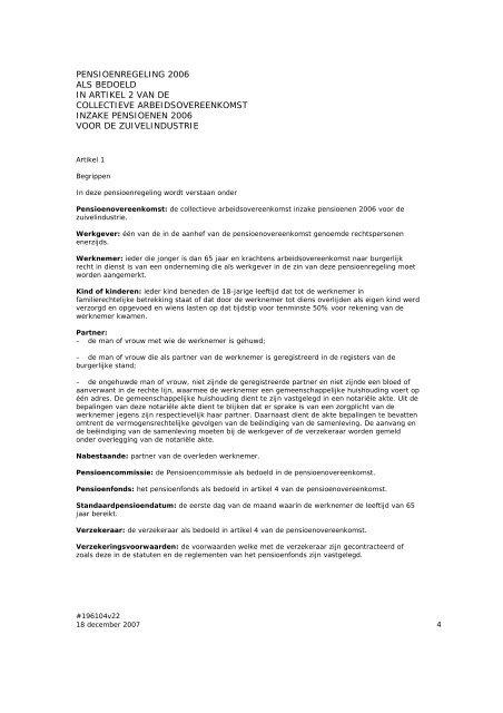 collectieve arbeidsovereenkomst inzake pensioenen ... - docs.szw.nl