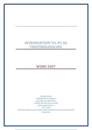 Introduktion til Pc og Tekstbehandling