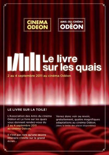 LE LIVRE SUR LA TOILE ! 2 au 4 septembre 2011 au cinéma Odéon