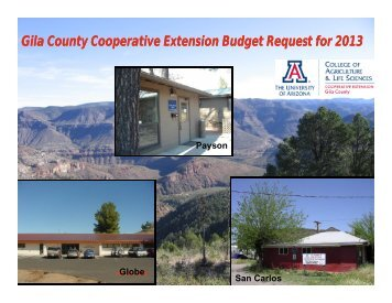 Gila County Cooperative Extension Budget Request for 2013
